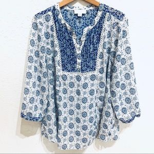 Forever 21+ Plus Blue Floral Boho Sheer Blouse 3X